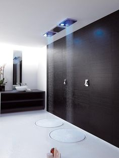 Modern, minimalist shower. Amazing, but I would insist it comes with a cleaner to dry my entire bathroom after each shower.