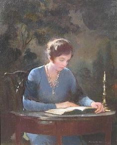 """""""Mary Reading,"""" Edmund Charles Tarbell, 1933, oil on canvas, 12.25 x 10.5"""", Arcature Fine Art."""