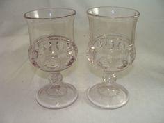 ANTIQUE VINTAGE SET OF 2 KINGS CROWN THUMBPRINT RARE PINK GLASSES