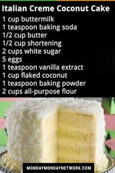 Italian Creme Coconut Cake -- Rachel you're in charge. Frosting Recipes, Cupcake Recipes, Cupcake Cakes, Dessert Recipes, Butter Frosting, Coconut Recipes, Baking Recipes, Coconut Cakes, Italian Cream Coconut Cake Recipe