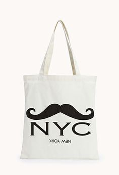 Quirky NYC Mustache Tote | FOREVER21 - 1000075183 This would be a great gym bag or just random travel bag. Cheap, cute and silly(: R2