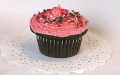 Dark Raspberry Dove Chocolate Cupcakes with Raspberry Buttercream
