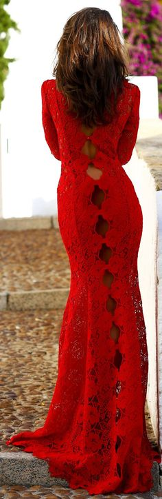 Red Lace Bodycon Cutout Detail Floor Length Gown Dress
