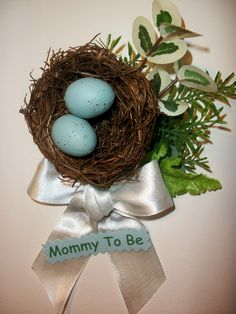 bird themed baby shower | birds nest baby shower corsage boy or girl birds nest and eggs theme ...