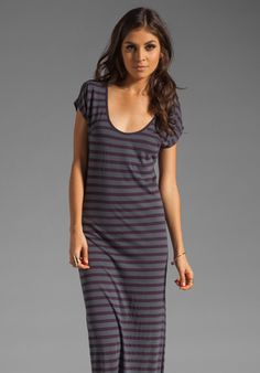 MONROW Scoop Maxi in Vintage Black with Currant Stripe