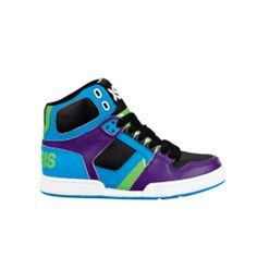 Shop for YouthTween Osiris NYC 83 Slim Skate Shoe in Black Purple Turquoise Lime at Journeys Kidz. Shop today for the hottest brands in mens shoes and womens shoes at JourneysKidz.com.High-top skate shoe from Osiris featuring a leather upper with patent accents and a padded tongue and collar for comfort.  Available exclusively at Journeys Kidz & Underground by Journeys!