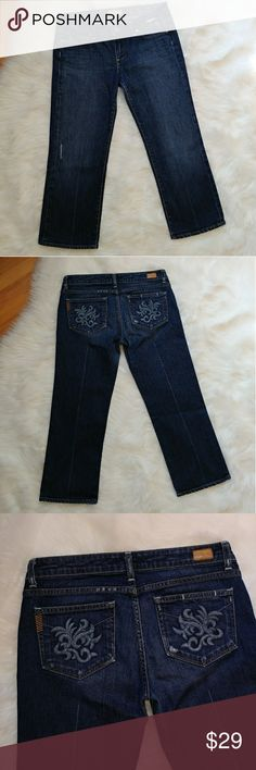 "PAIGE premium denim Laurel Canyon crop jeans PAIGE premium denim Laurel Canyon crop jeans  In good condition  Has a some wear on the inseam (pictured) Measuments taken laying flat across: Inseam 23"" Front rise 8"" Waist 16"" Paige Jeans Jeans"