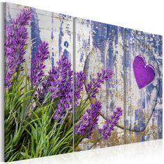East Urban Home Leinwandbilder-Set Lavendel-Liebe Yard Art, Art Mural En Plein Air, Garden Fence Art, Art Floral, Outdoor Wall Art, Garden Painting, Fence Painting, Pallet Art, Mural Art