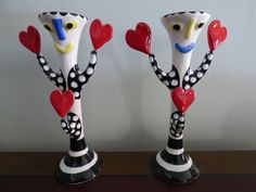 Happy Hearts Candle Holders  1986 Glazed Ceramic by ChicAvantGarde