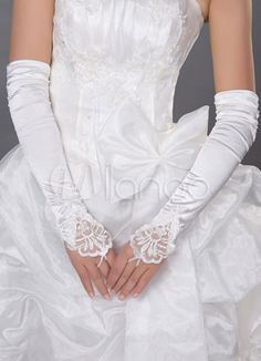 Satin Opera Length Fingerless with Lace Applique and Pearls Bridal Gloves (Ivory) Wedding Wows, Wedding Girl, Tulle Wedding, Lace Weddings, Bridal Lace, Wedding Dresses, Wedding Ideas, Wedding Gloves, Elastic Satin