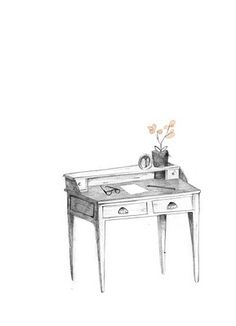 Clare Owen. Such a cute desk illustration. I love the orchids too :)