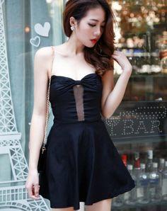 Korean Style Bowknot Slim Waist Dress @Cheap Korean Wholesale ...