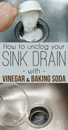 'How to unclog a sink drain with baking soda and vinegar...!' (via Cleaning Ideas - Make your cleaning ritual easier)