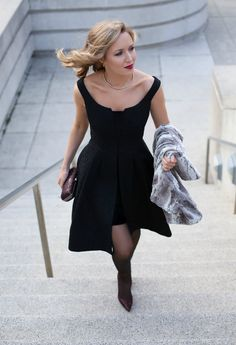 black lace off the shoulder knee length dress fur cowl neck pulloever burgundy red glitter pumps and matching minaudiere clutch a