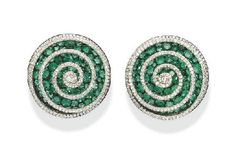 A PAIR OF SUPERB EMERALD AND DIAMOND SPIRAL EAR CLIPS, BY JAR