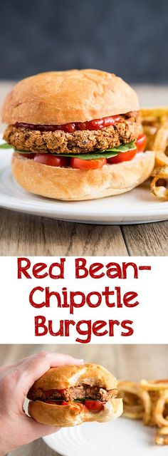 Red Bean-Chipotle Burgers - Crispy on the outside, tender on the inside, these veggie burgers are delicious filling for sandwiches or even alone. Vegan, oil-free, and gluten-free. Burger Recipes, Vegetarian Recipes, Vegan Bean Burger, Vegan Burgers, Vegan Foods, Vegan Dishes, Whole Food Recipes, Cooking Recipes, Kitchens