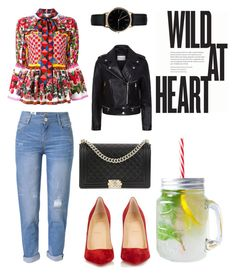 """""""wild at heart"""" by mia1995fashionlover on Polyvore featuring WithChic, Dolce&Gabbana, Christian Louboutin, Chanel, Sandro and Freedom To Exist"""