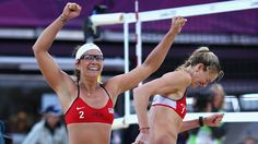 ....The Golden Girls did it again!!!..Wahooo!...PHOTO: Kerri Walsh Jennings and Misty May-Treanor of the United States celebrate after the Women's Beach Volleyball Semi Final match between United States and China on Day 11 of the London 2012 Olympic Games at Horse Guards Parade August 7, 2012 in London