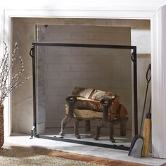 Industrial Fireplace Single Screen | Pottery Barn | Home decor ...