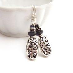 Silver Dangle Earrings Pewter Filigree by RockStoneTreasures, $36.00