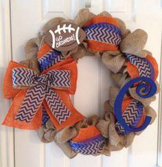 Orange and Blue Burlap Wreath/Denver Broncos by Justalittlechic, $55.00