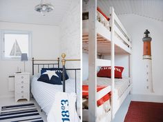 Ideas for coastal/nautical boys rooms (love the wallpaper in left picture and the slatted bunk bed in right picture)