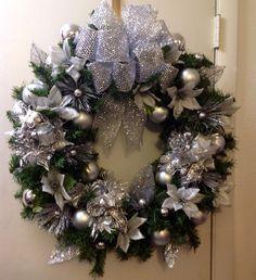 Silver christmas wreath by TammysFlowersandmore on Etsy, $50.00