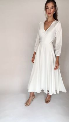 Silk Satin Dress, Satin Dresses, Dresses With Sleeves, Flowy Dresses, Civil Wedding Dresses, Dresses To Wear To A Wedding, Elegant White Dress, White Midi Dress, Wrap Over Dress