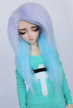 BJD MSD Minifee wig Lilac to Teal long in front by MonstroDesigns