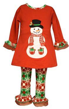Bonnie Jean Girls Snowman Legging Set (3T, Red).