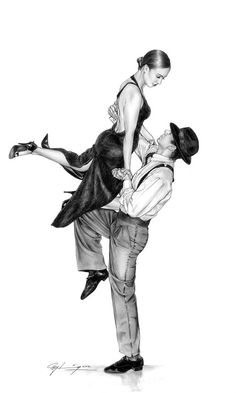 pencil drawing - Tango Lift by Ray Leaning  Pencil on A2 paper © Ray Leaning 2012 original £500 unframed limited edition prints £50 from www.leaning.co.uk