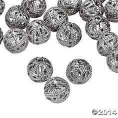 Silvertone Filigree Round Beads - 8mm