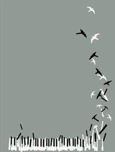 I think this will make a nice background on a webpage. I like how the notes becomes birds and flies off.
