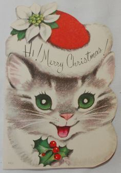images of 1950 vintage christmas card | Vintage 1950's Christmas Cards with Cats by ilovevintagestuff