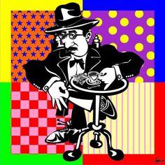 fernando pessoa,pop art,a bica (Pintura) por joão beja