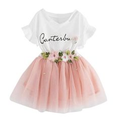 letter Printed Tee+Flower embroidery Tutu Skirt 2Pcs Baby Girls Clothes Set