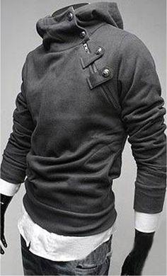 Truro - mens slimfit diagonal button hoodie