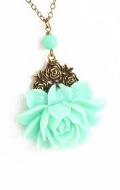 Mint Green Flower Necklace http://ift.tt/1vJKp6W