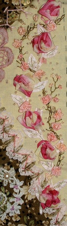 Gorgeous ribbon embroidery. Quilt.