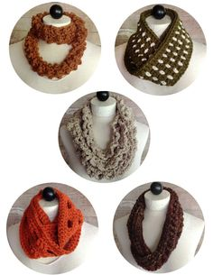 Maggie's Crochet · 30-Minute Infinity Scarves Crochet Pattern Set 2. @Kristine Rexroth Brutsche i like the green and orange if they were in different colors
