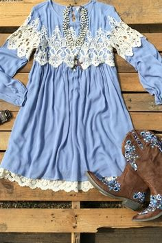 Loving You Easy Dress- Dusty Blue $38.99! #southernfriedchics #lace #dress
