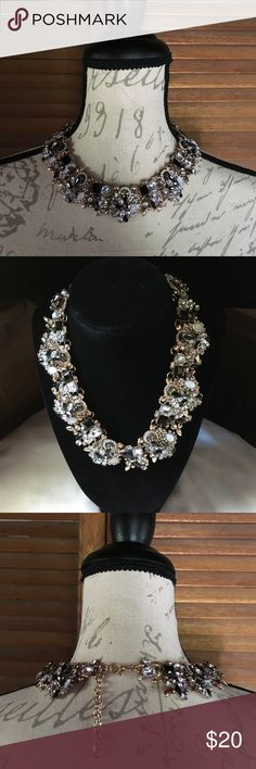"""Black & W Statement Necklace New. Gorgeous black & white collar necklace. 14.8"""" + 3"""" extension. Fits best when fastened on last ring. Crystal & high quality rhinestone alloy. The back is flat so fit is close to neckline. See last pic of the backside of necklace. Jewelry Necklaces"""