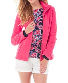 Lilly Pulitzer Grace Jacket in color pomegranate.