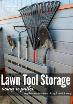 DIY Garage Organization Ideas - Store Lawn Tools With a Pallet - Cheap Ways to O. - DIY Garage Organization Ideas – Store Lawn Tools With a Pallet – Cheap Ways to Organize Garages - Backyard Storage, Garden Tool Storage, Shed Storage, Storage Hacks, Pallet Storage, Garden Tool Organization, Small Garage Organization, Diy Garage Storage, Small Garage Ideas