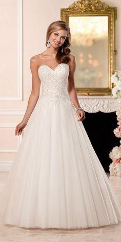 Stella York A-line Wedding Dress with Princess Cut Neckline style 6357 / http://www.deerpearlflowers.com/stella-york-fall-2016-wedding-dresses/2/