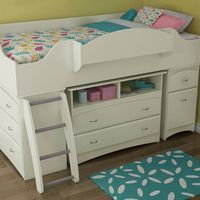 Giselle White Mid-High Loft Bed - Adorable for a little girl