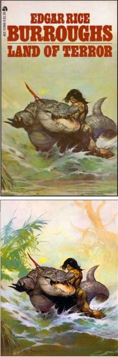 FRANK FRAZETTA - Land of Terror - Edgar Rice Burroughs - 1978 - cover by isfdb - print by www.tarzan.org