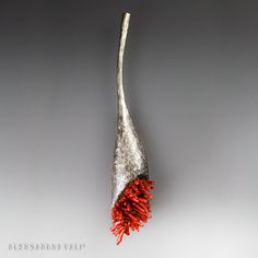 """.....The Spark of Passion..... One of a Kind Brooch 4.5"""" x 1"""" x 0.5"""" Oxidized sterling silver, red coral. If there is no passion in your life, then have you really lived? Find your passion, whatever it may be. Become it, and let it become you and you will find great things happen FOR you, TO you and BECAUSE of you."""