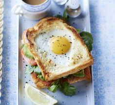 Egg-in-the-hole smoked salmon & avocado toastie. Make someone special a brunch to remember. Use a cutter of your choice to create a specially-shaped sandwich