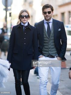 Olivia Palermo and Johannes Huebele seen in the streets of Paris after the Moncler show during Paris Fashion Week Spring/Summer 2017 on October 5...
